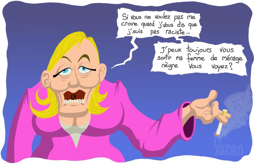 Caricature de Marine Le Pen: Je ne suis pas raciste
