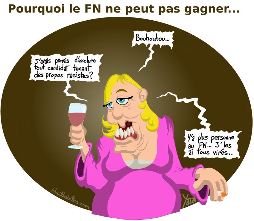 Caricature Marine Le Pen dépressive et alcoolique