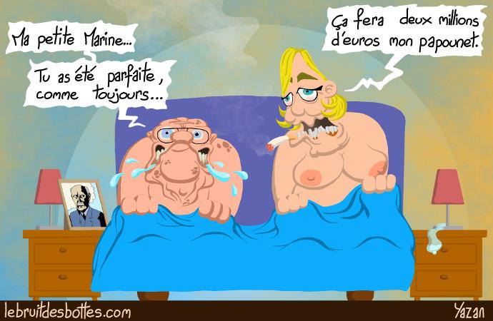 caricature jean marie le pen nu et marine le pen nue au lit apres avoir fait du sexe