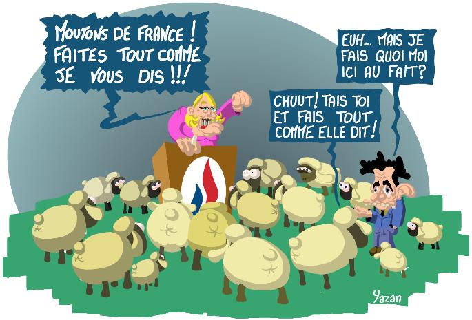 Peuple de moutons - Caricature de Marine Le Pen et Nicolas Sarkozy