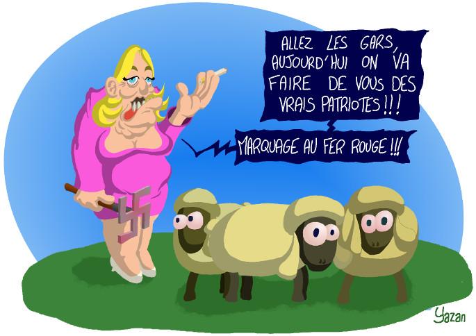 Caricature de Marine Le Pen marquant des moutons au fer rouge nazi