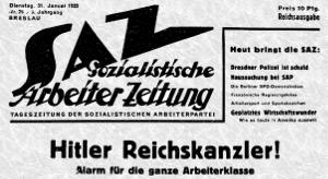 Une du journal du parti socialiste allemand du 31 janvier 1933 : Hitler chancelier