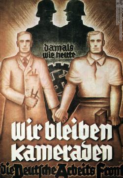Fond allemand du travail - affiche de propagande nazie alliant ouvriers et patrons